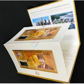 Singapore Brunei 50 Dollars & 50 Ringgit w/FOLDER, Commemorative, 2017, P-38, 62, Polymer, UNC