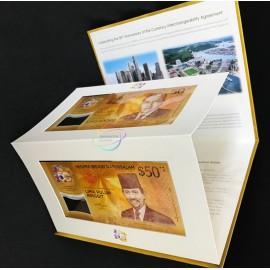 Singapore Brunei 50 Dollars & 50 Ringgit w/FOLDER, Commemorative, 2017, P-38, 62, Polymer, UNC
