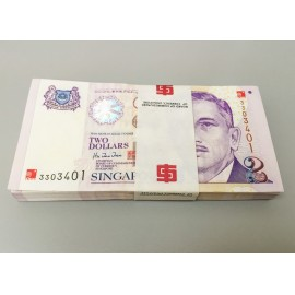 Singapore 2 Dollars X 100 PCS, Full Bundle, Commemorative, 2000, P-45, UNC
