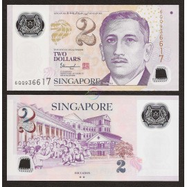 Singapore 2 Dollars, 2 Hollow Stars, 2017, P-46 New, Polymer, UNC