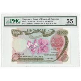 Singapore 500 Dollars, 1972, P-7, PMG 55 AU