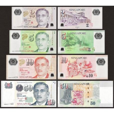 Singapore 2, 5, 10, 50 Dollars Set, 2012-2015, P-46, 47, 48, 49, Polymer, UNC