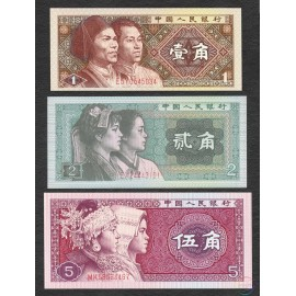 China 1, 2, 5 Jiao Set, 1980, P-881, 882, 883, UNC