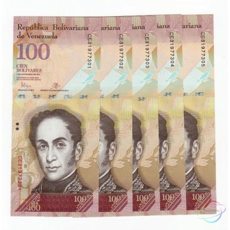 Venezuela 100 Bolivares X 5 PCS, 2015, P-93, UNC