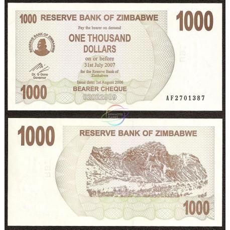 Zimbabwe 1,000 Dollars, Bearer Cheque, 2006, P-44, UNC