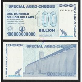 Zimbabwe 100 Billion Dollars, Bearer Cheque, 2008, P-64, UNC