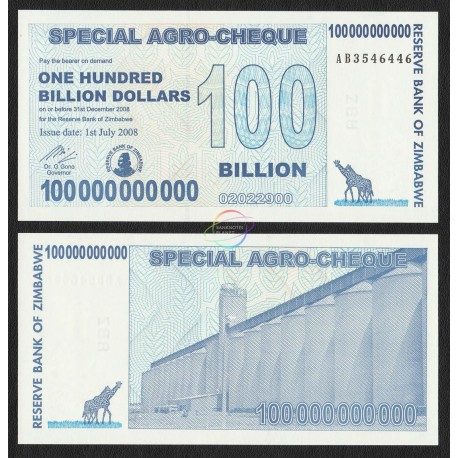Zimbabwe 100 Billion Dollars, Bearer Cheque, 2008, P-64, UNC