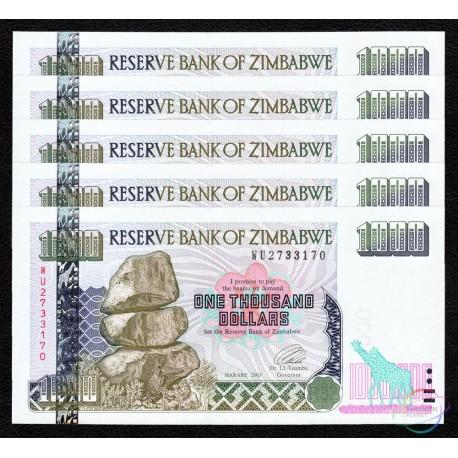 Zimbabwe 1,000 Dollars X 5 PCS, 2003, P-12, UNC