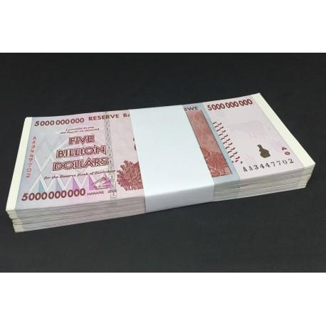 Zimbabwe 5 Billion Dollars X 100 PCS, 2008, P-84, AU-UNC