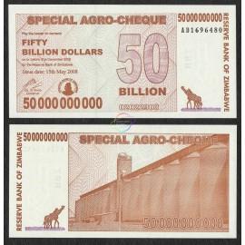 Zimbabwe 50 Billion Dollars, Bearer Cheque, 2008, P-63, UNC