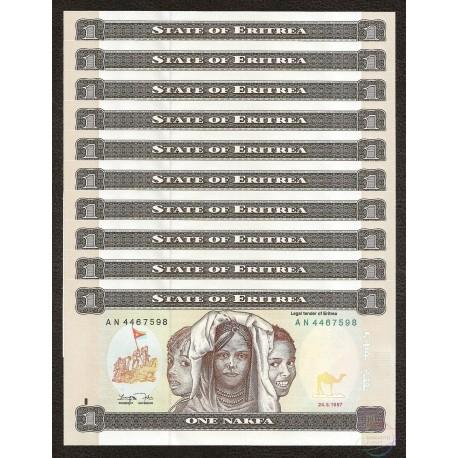 Eritrea 1 Nakfa x 10 PCS, 1997, P-1, UNC
