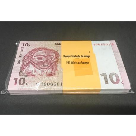 Congo D.R. 10 Centimes X 100 PCS, Full Bundle, 1997, P-82, UNC