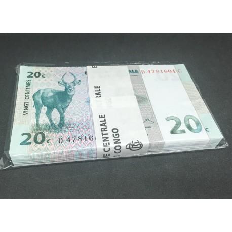 Congo D.R. 20 Centimes X 100 PCS, Full Bundle, 1997, P-83, UNC