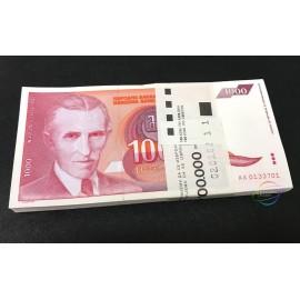 Yugoslavia 1,000 Dinara X 100 PCS, Full Bundle, 1992, P-114, UNC