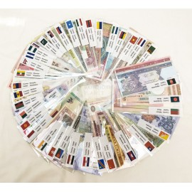 100 PCS Different Banknotes from 35 Countries UNC W/Country Label Sleeve