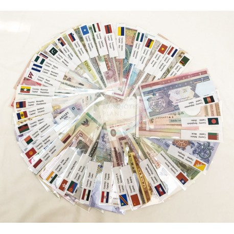 World 100 PCS w/Flag Label Uncirculated Banknotes Set 35 Different Countries UNC