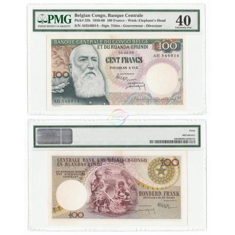 Belgian Congo 100 Francs, King Leopold II, 1959, P-33b, PMG 40 XF