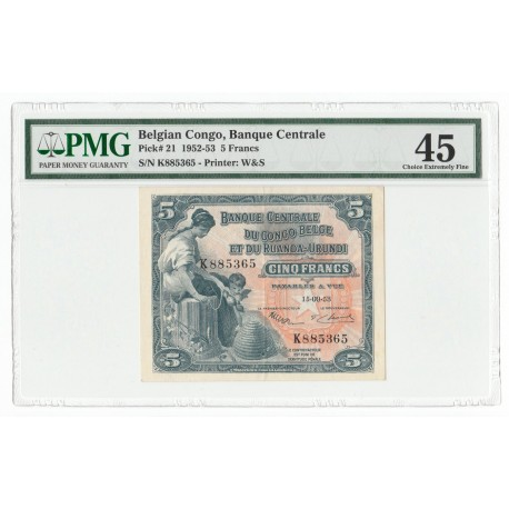 Belgian Congo 5 Francs, 15.09.53, P-21, PMG 45 XF