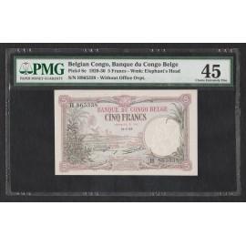 Belgian Congo 5 Francs, 1929, P-8e, PMG 45 XF