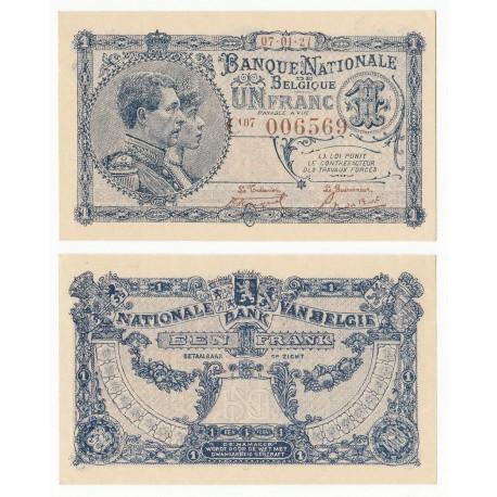 Belgium 1 Franc, King Albert, Queen Elisabeth, 1921, P-92, UNC