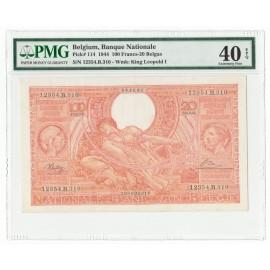 Belgium 100 Francs-20 Belgas, King Albert, 1944, P-114, PMG 40 EPQ XF