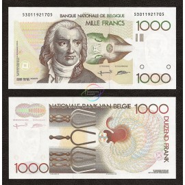 Belgium 1,000 Francs, Sign 5 & 15, 1980-1996, P-144a, UNC