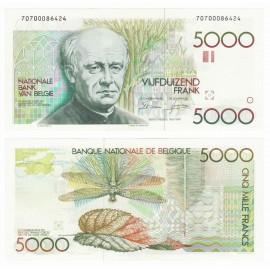 Belgium 5,000 Francs, Sign 4 & 10, 1982-92, P-145, UNC