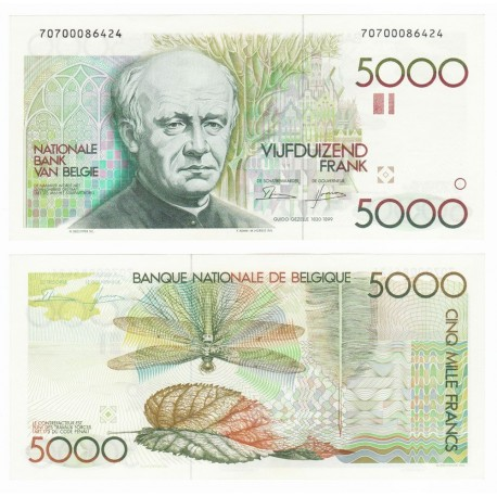 Belgium 5,000 Francs, Sign 4 & 10, 1982-92, P-145, UNC