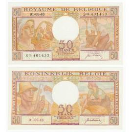Belgium 50 Francs, 1948, P-133a, UNC