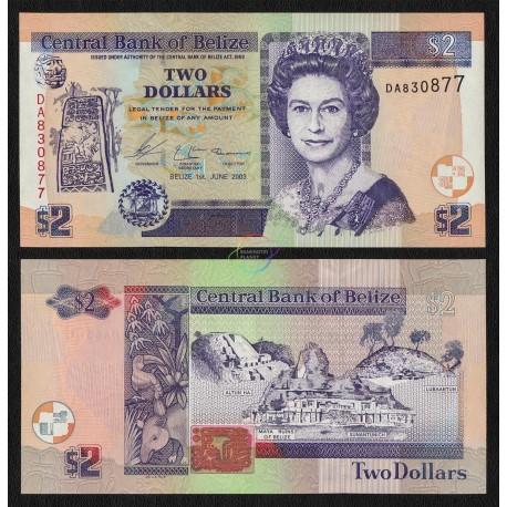 Belize 2 Dollars, QE II, 2003, P-66a, UNC