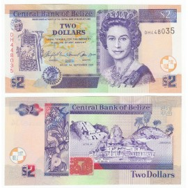 Belize 2 Dollars, QE II, 2007, P-66c, UNC