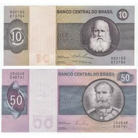 Brazil 10, 50 Cruzeiros Set 2 PCS, 1979 1980, P-193c, 194c, UNC