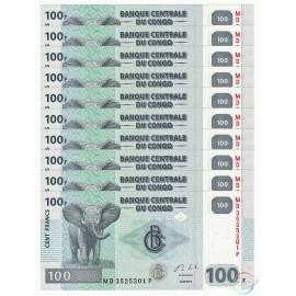 Congo D.R. 100 Francs X 10 PCS, 2013, P-98, UNC