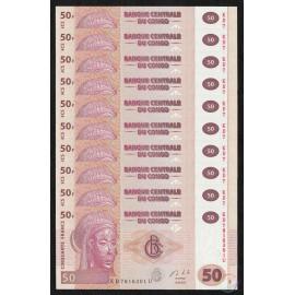 Congo D.R. 50 Francs X 10 PCS, 2013, P-98, UNC