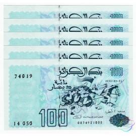 Algeria 100 Dinars X 5 PCS, 1992, P-137, UNC