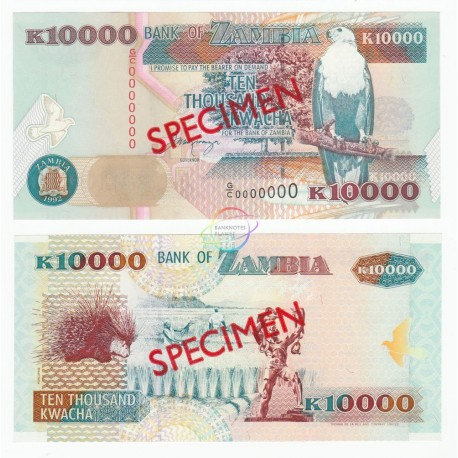Zambia 10,000 Kwacha, Specimen, 1992, P-42, UNC