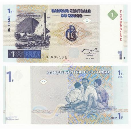 Congo D.R. 1 Franc, 1997, P-85, UNC