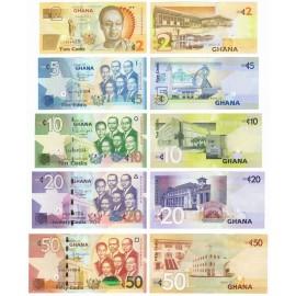 Ghana 1, 2, 5, 10, 50 Cedis Set 5 PCS, 2010 2014, P-37A, 38, 39, 40, 42, UNC