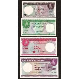 Ghana 5, 10, 50, 100 Cedis Set 4 PCS, 1965, P-6, 7, 8, 9, UNC