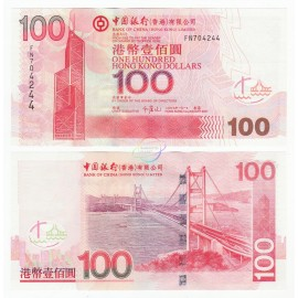 Hong Kong 100 Dollars, Bank of China, 2007, P-337d, UNC
