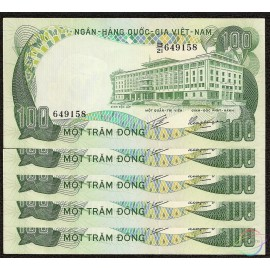 South Vietnam 100 Dong X 5 PCS, 1972, P-31, AU-UNC