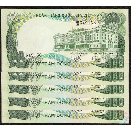 South Vietnam 100 Dong X 5 PCS, 1972, P-31, AU-UNC