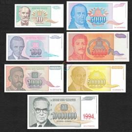 Yugoslavia 10, 100, 1000, 5000, 50.000, 500.000, 1.000.000 Dinara Set 7 PCS, 1994, P-138-144, UNC