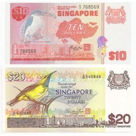 Singapore 10, 20 Dollars Set, 1979-80, P-11b, 12, UNC