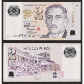 Singapore 2 Dollars, 2 Diamonds, 2015, P-46g, Polymer, UNC