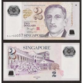 Singapore 2 Dollars, 2 Diamonds, 2015, P-46g, Polymer, UNC
