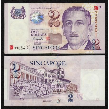 Singapore 2 Dollars, Millenium Overprint, 2000, P-45, UNC