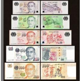 Singapore 2, 5, 10, 50, 100 Dollars Set, 2015-2017, P-46, 47, 48, 49, 50, UNC