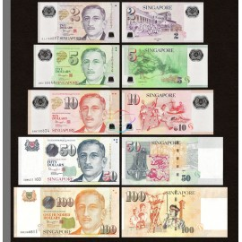 Singapore 2, 5, 10, 50, 100 Dollars Set 5 PCS, 2015-2017, P-46, 47, 48, 49, 50, UNC