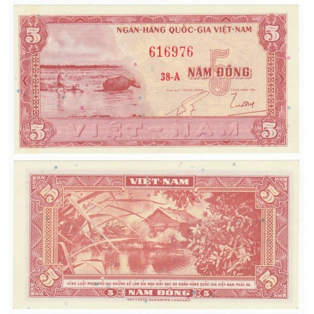 South Vietnam 5 Dong, 1955, P-13, AUNC